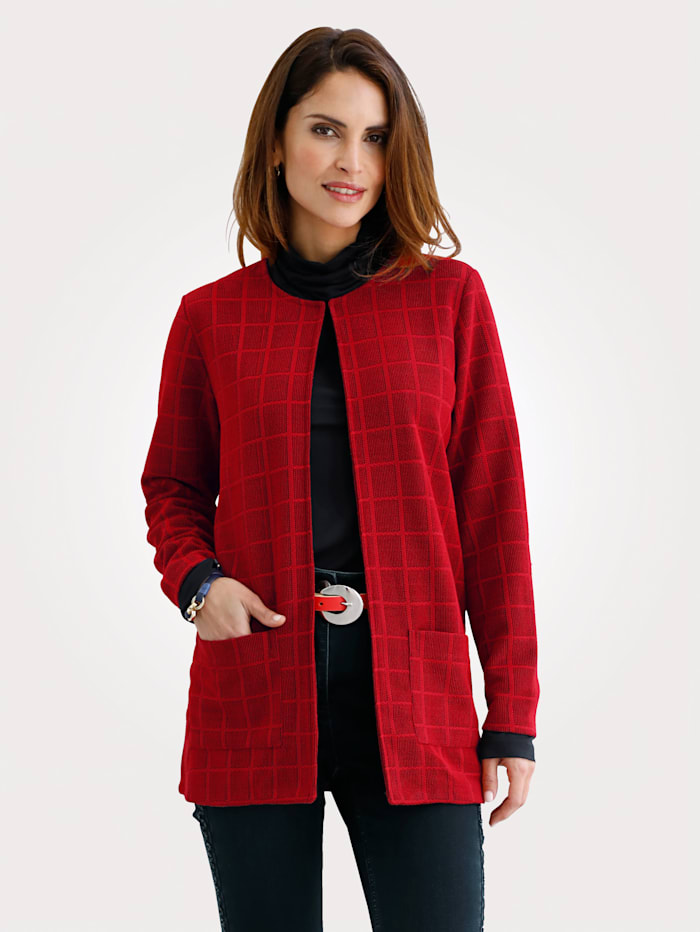 MONA Longline jacket with a graphic jacquard pattern, Red