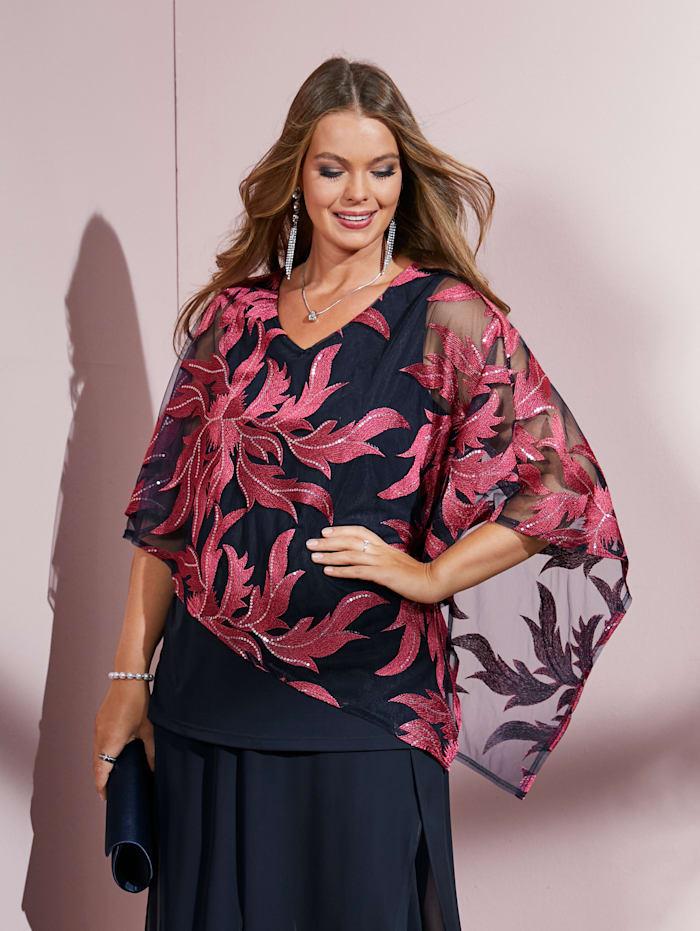 MIAMODA Longshirt mit Stickereien und Pailletten, Marineblau/Pink
