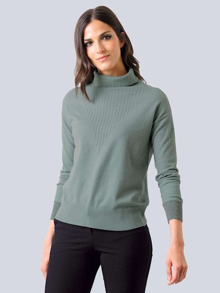 Alba Moda Pullover mit Glanzgarn-Effekten, Salbeigrün