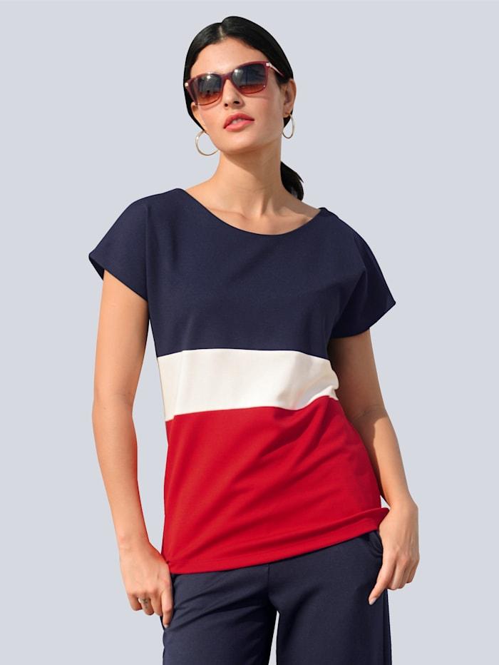 Alba Moda T-shirt à motif color block, Marine/Rouge/Blanc