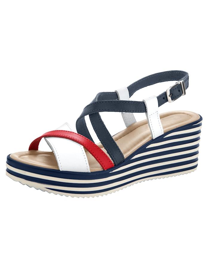Sandaletter i maritim stil, Marinblå/Vit/Röd