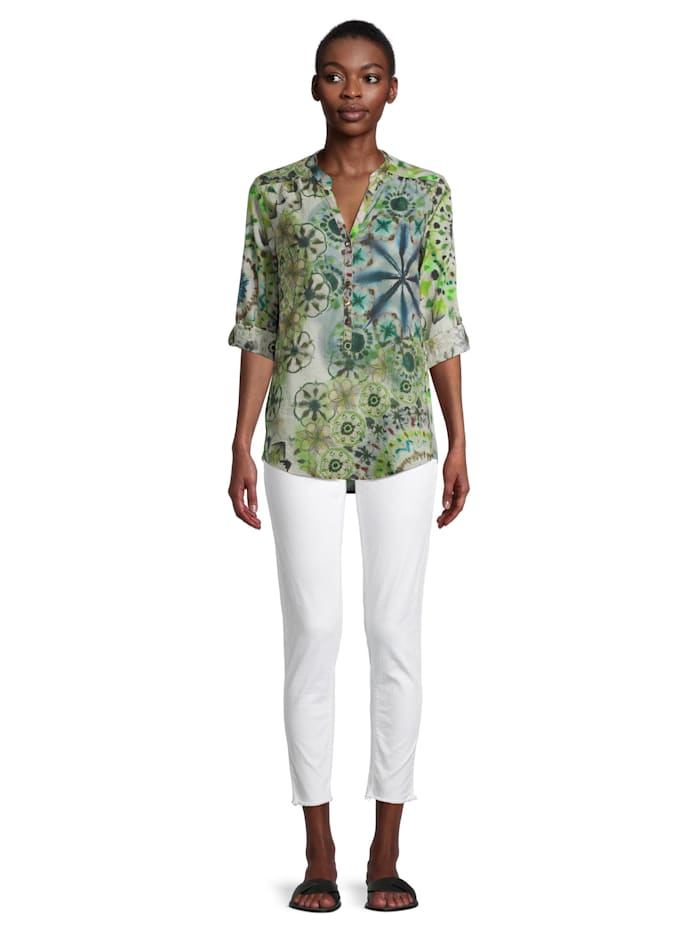 Casual-Bluse mit 3/4 Arm Muster