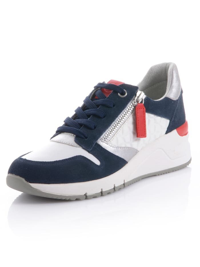 Tamaris Sneaker im Materialmix, Weiß/Marineblau