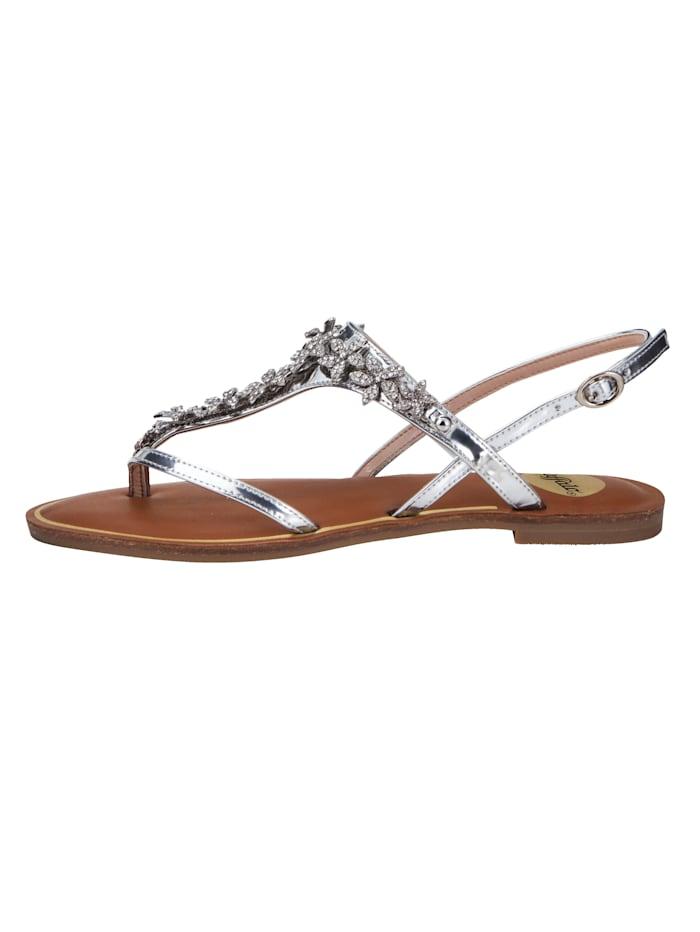 Buffalo Sandale mit Zehensteg, Silberfarben