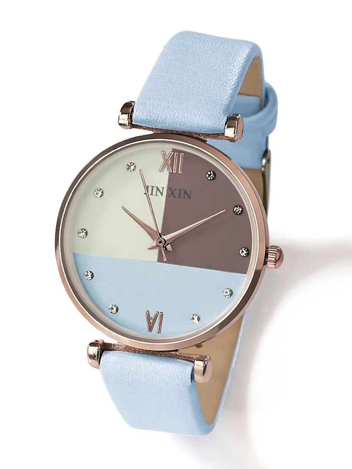 Alba Moda Uhr im Color-Blocking, Blau/Taupe