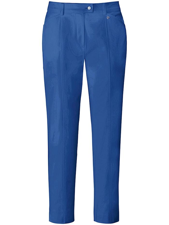 Basler Zigarettenhose aus unifarbenem Baumwollsatin, nautical blue