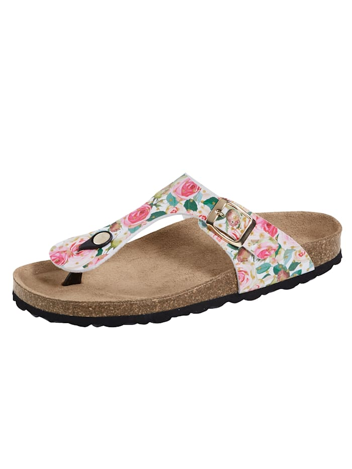 Sandals with a beautiful rose print, Multi