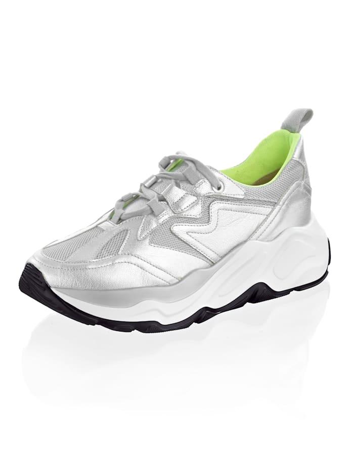 Alba Moda Sneaker met inzetten van netmateriaal, Zilverkleur/Neongeel