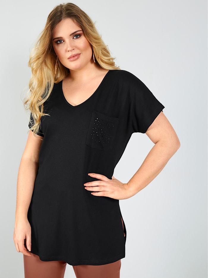 Sara Lindholm Shirt met borstzakje, Zwart