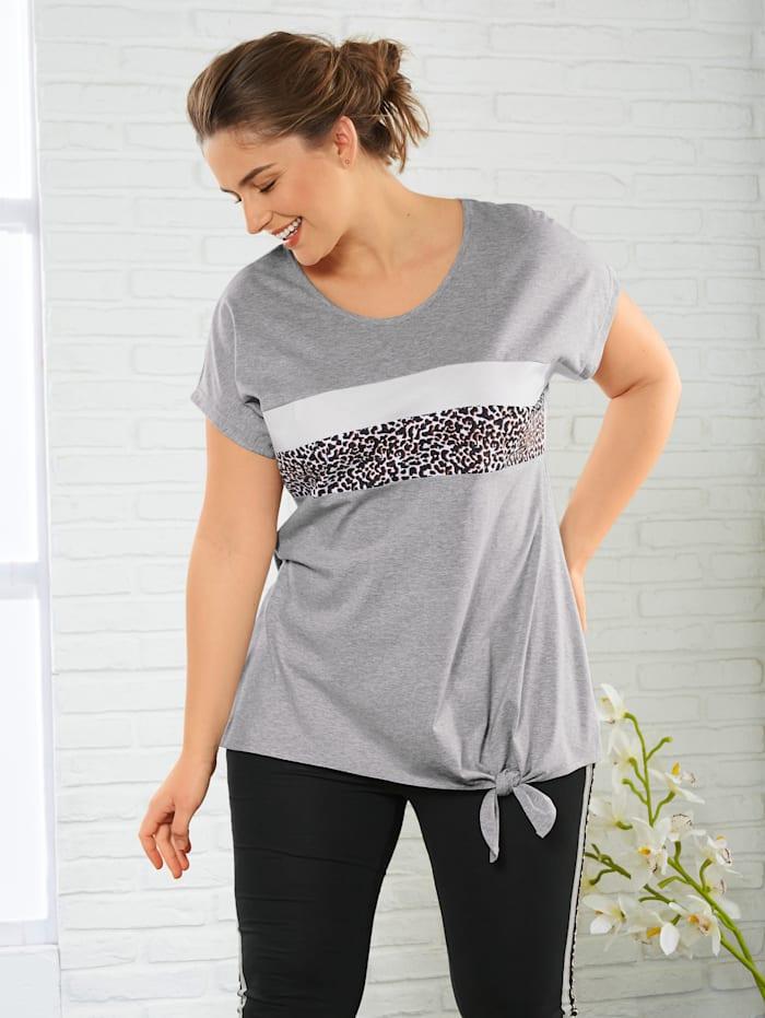 Janet & Joyce Shirt mit Leo-Print, Grau/Weiß/Schwarz