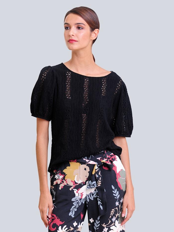 Alba Moda Shirt met opengewerkt borduursel, Zwart
