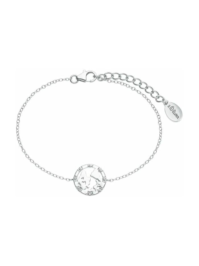 s.Oliver Armkette für Damen, Sterling Silber 925, Zirkonia Weltkugel, Silber