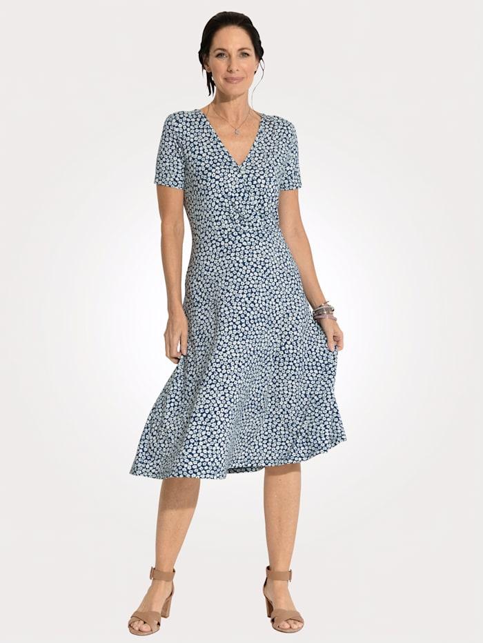MONA Jersey dress in a wrap look, Blue/Light Blue/Ecru