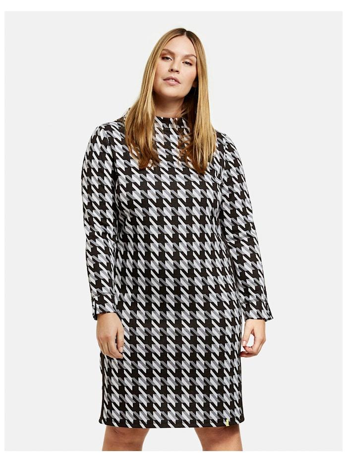 Samoon Kleid mit Hahnentrittmuster, Black gemustert