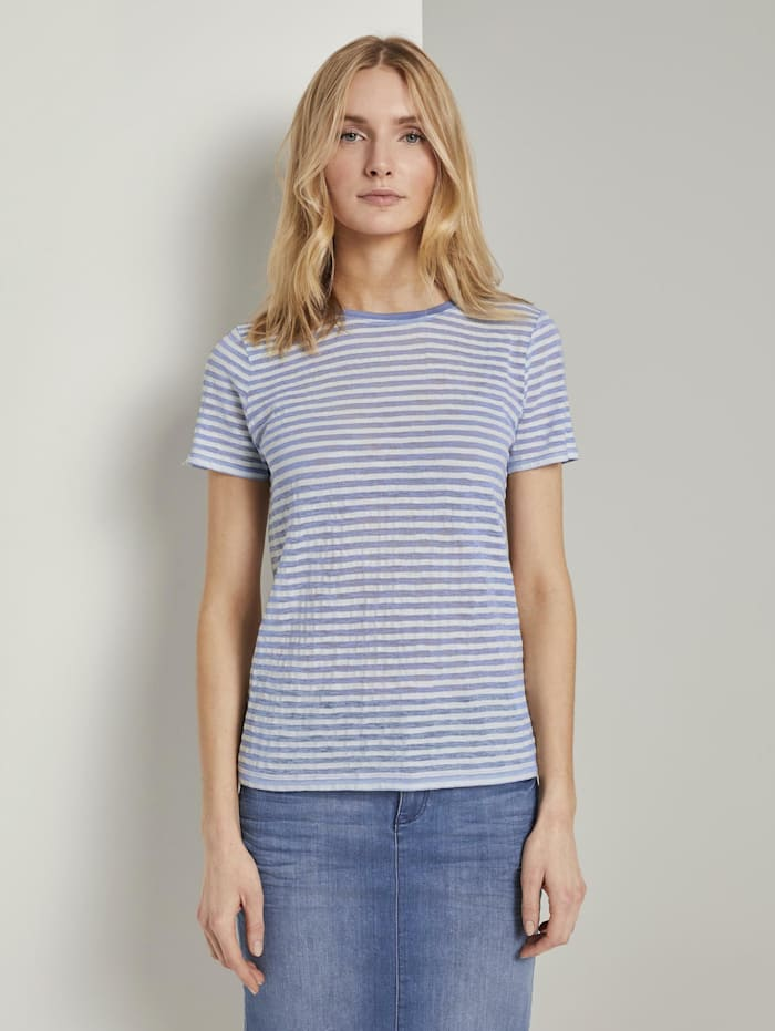 Tom Tailor Gestreiftes T-Shirt, blue offwhite stripes