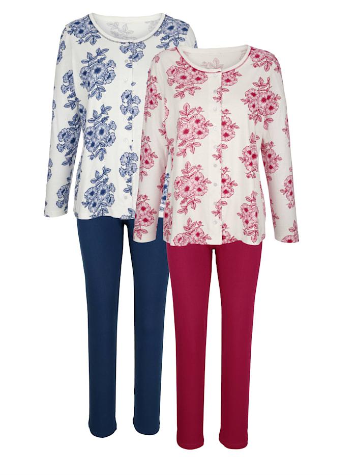 Harmony Pyjamas med genomgående knäppning, Marinblå/Ljung/Benvit
