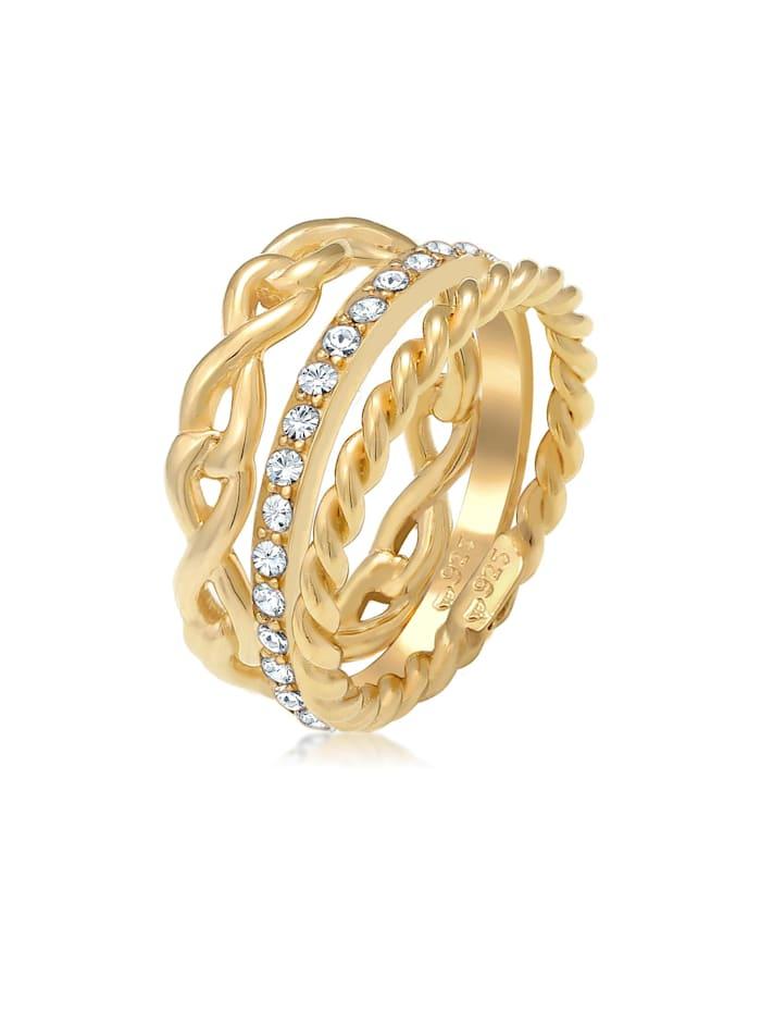 Elli Ring Infinity Bandring Kristalle 925 Silber, Gold