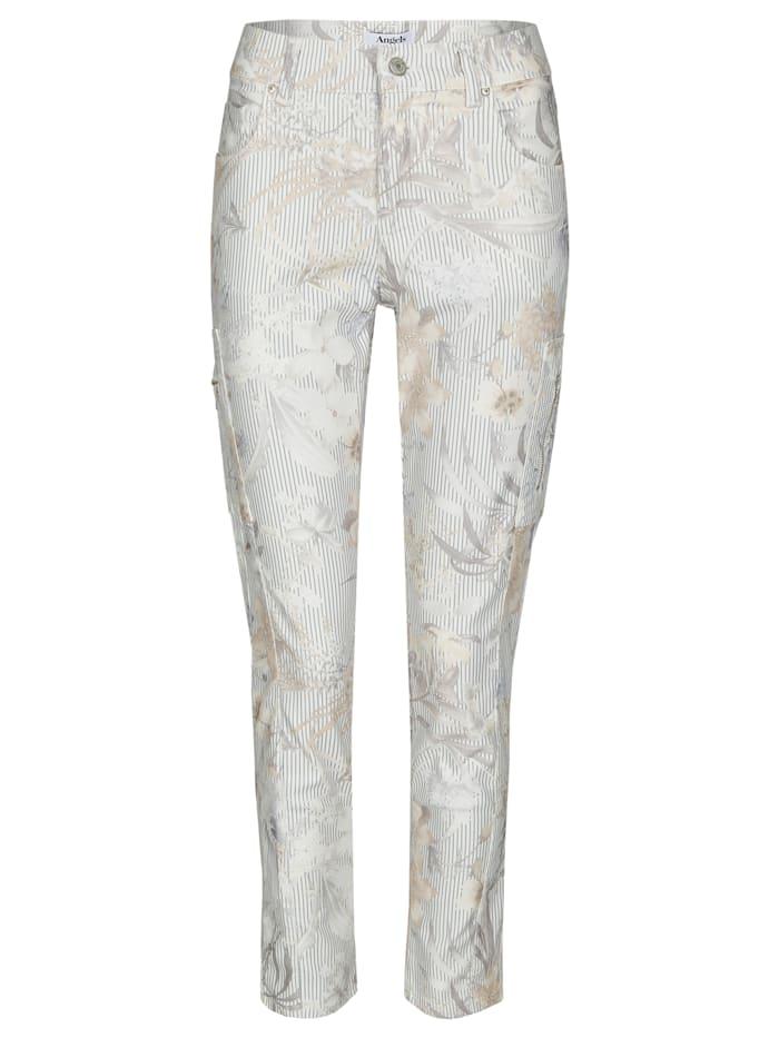 Angels Jeans 'Ornella Cargo' mit geblümten, gestreiften Details, offwhite