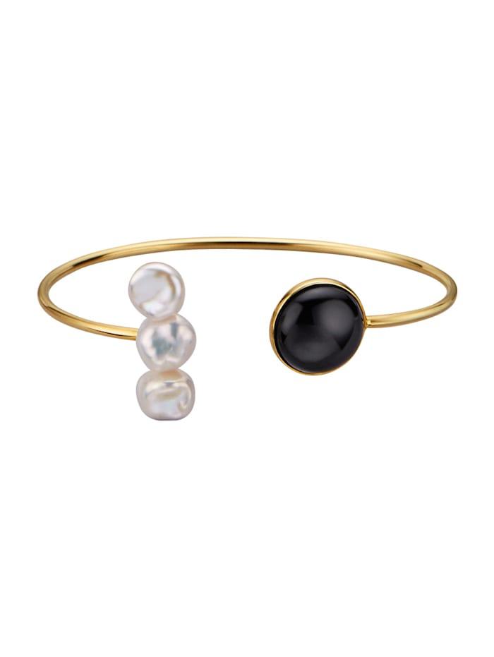 Diemer Perle Armspange mit Keshiperlen, Schwarz