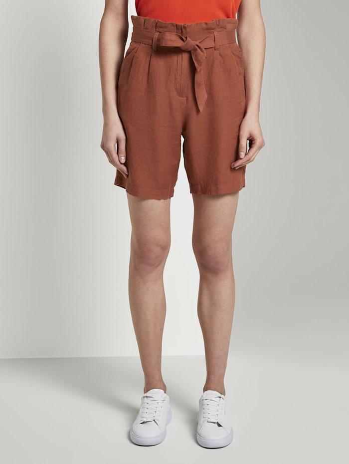 Tom Tailor Paperbag-Shorts aus Leinengemisch, Goji Orange