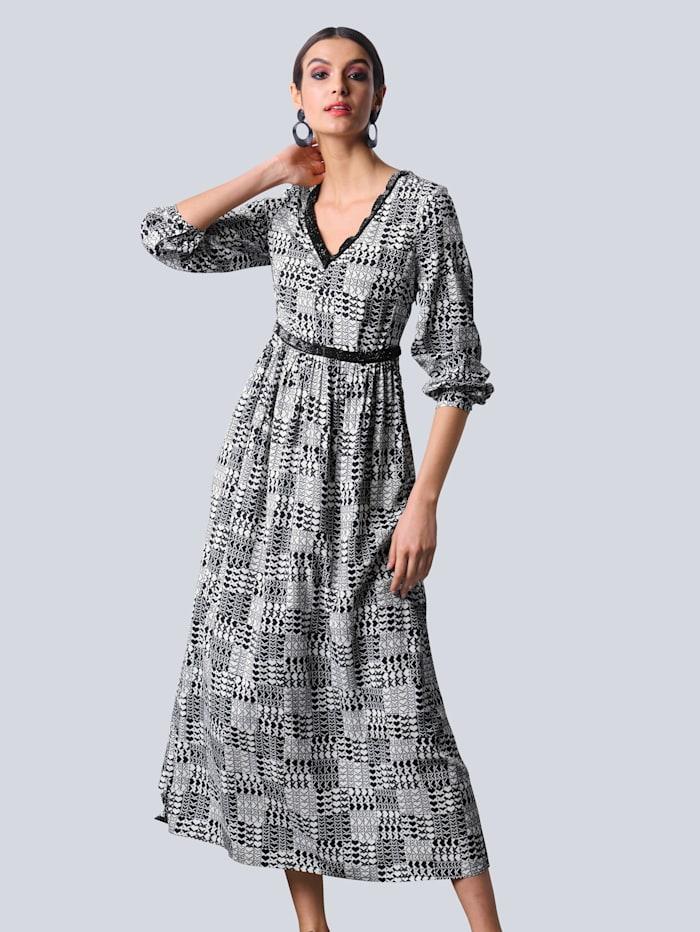 Alba Moda Kleid allover im kleinen Herzchendruck, Off-white/Schwarz
