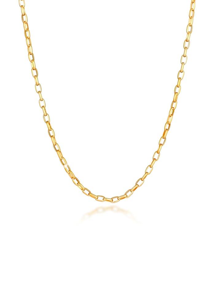 Kuzzoi Halskette Herren Rundanker Oval Basic 925 Silber, Gold