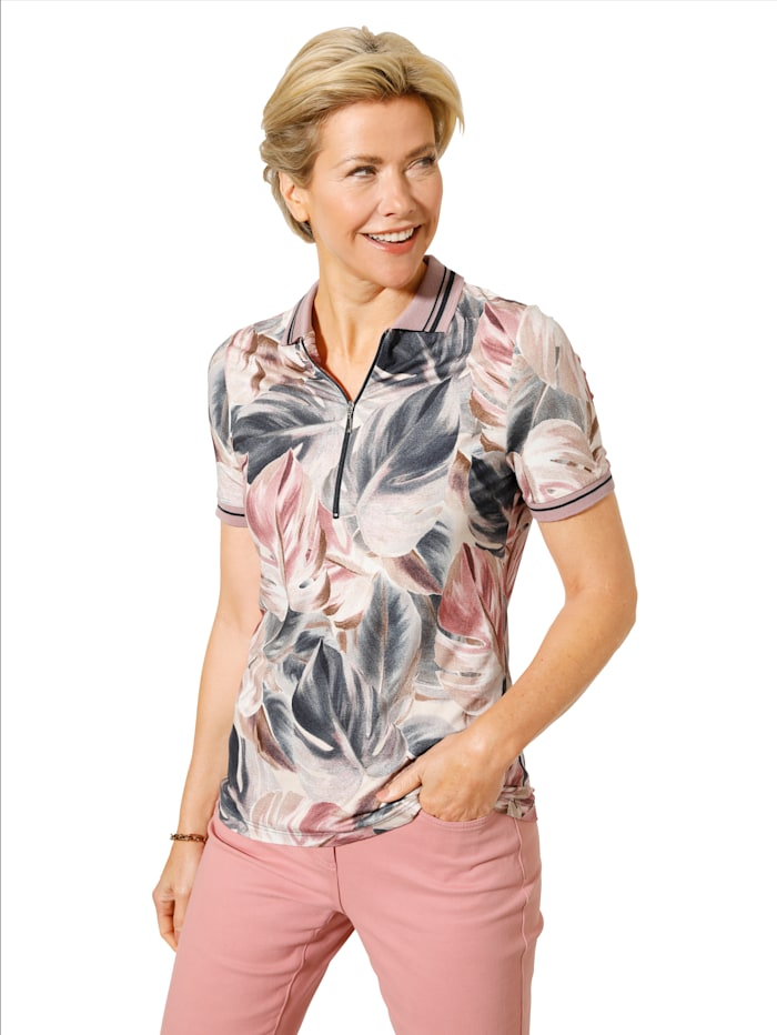MONA Poloshirt mit komfortablen Reißverschluss, Rosé/Blau/Beige