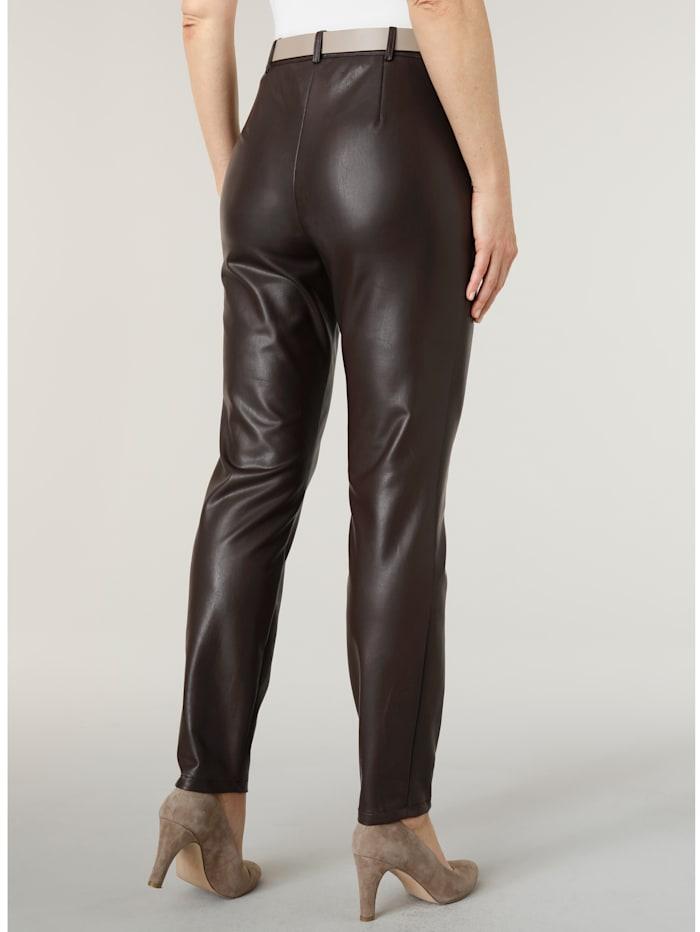 Pantalon en similicuir avec nervures surpiquées
