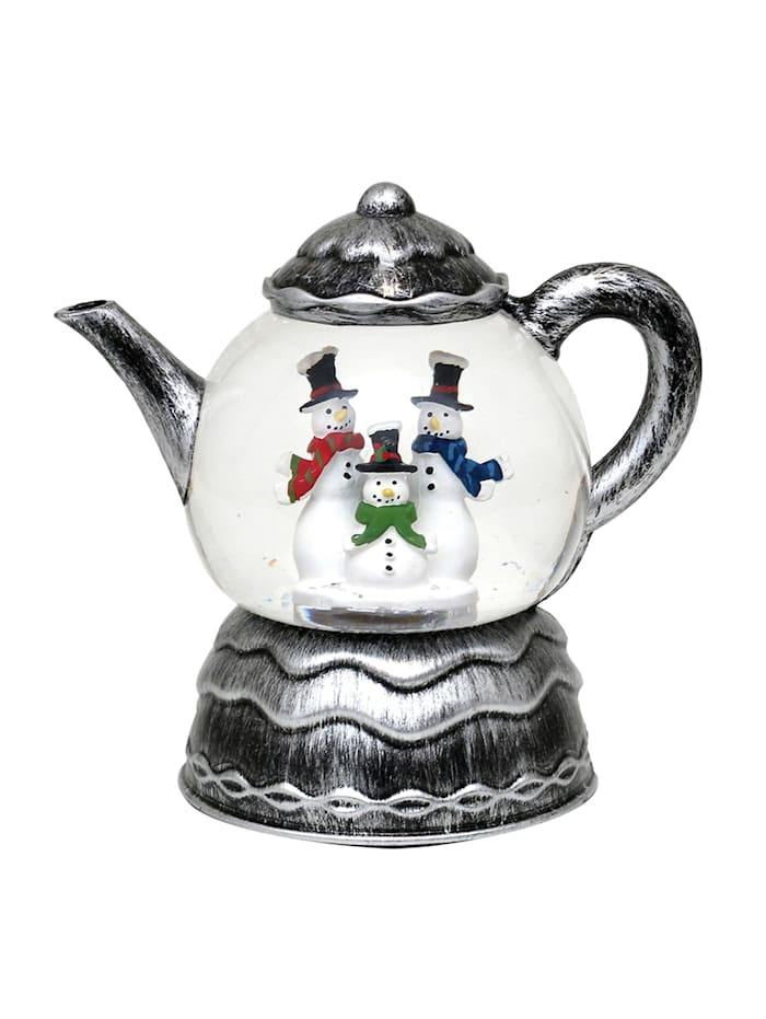 Sigro LED Deko-Teekanne mit Schneemannfamilie, Silber