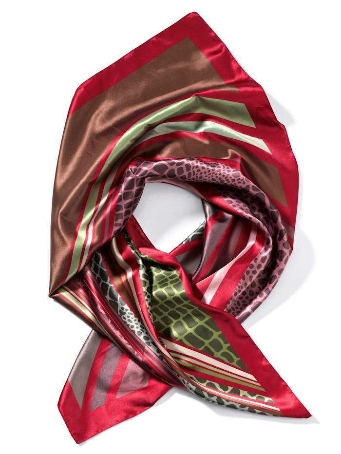 Alba Moda Tuch im Patchdessin, rot/grün