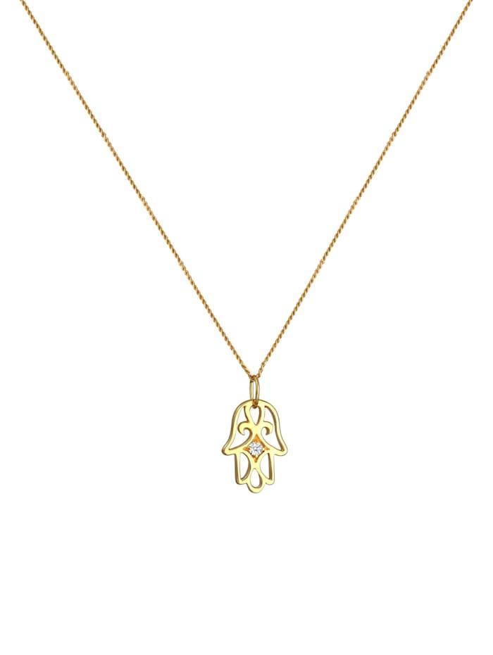 Halskette Hamsa Hand Diamant (0.03 Ct.) 585 Gelbgold