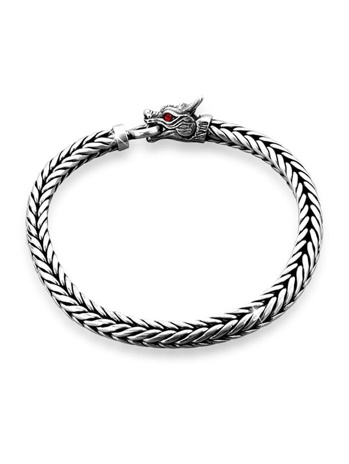 Kuzzoi Armband Panzerarmband Drache Ringverschluss 925Er Silber, Silber