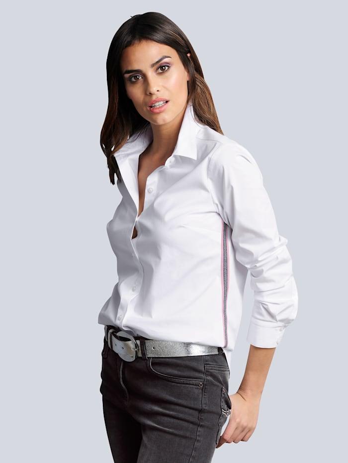 Alba Moda Bluse mit effektvoller Tapeverarbeitung, Weiß