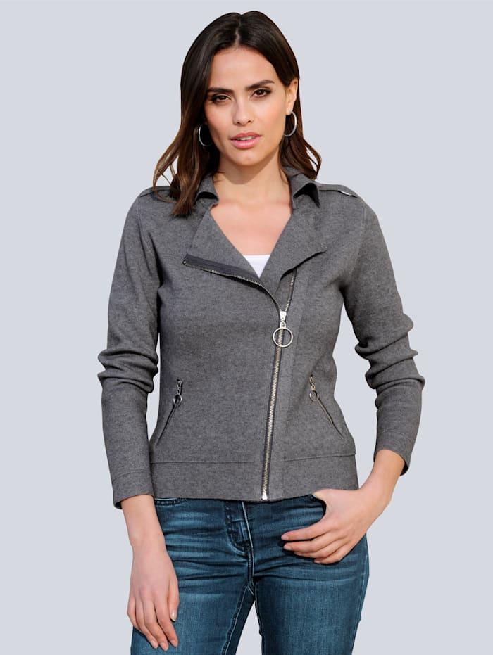 Alba Moda Strickjacke mit asymmetrischem Reißverschluss, Grau