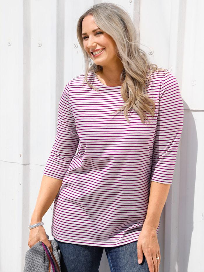 MIAMODA Shirt mit Streifendruck, Lila/Grau