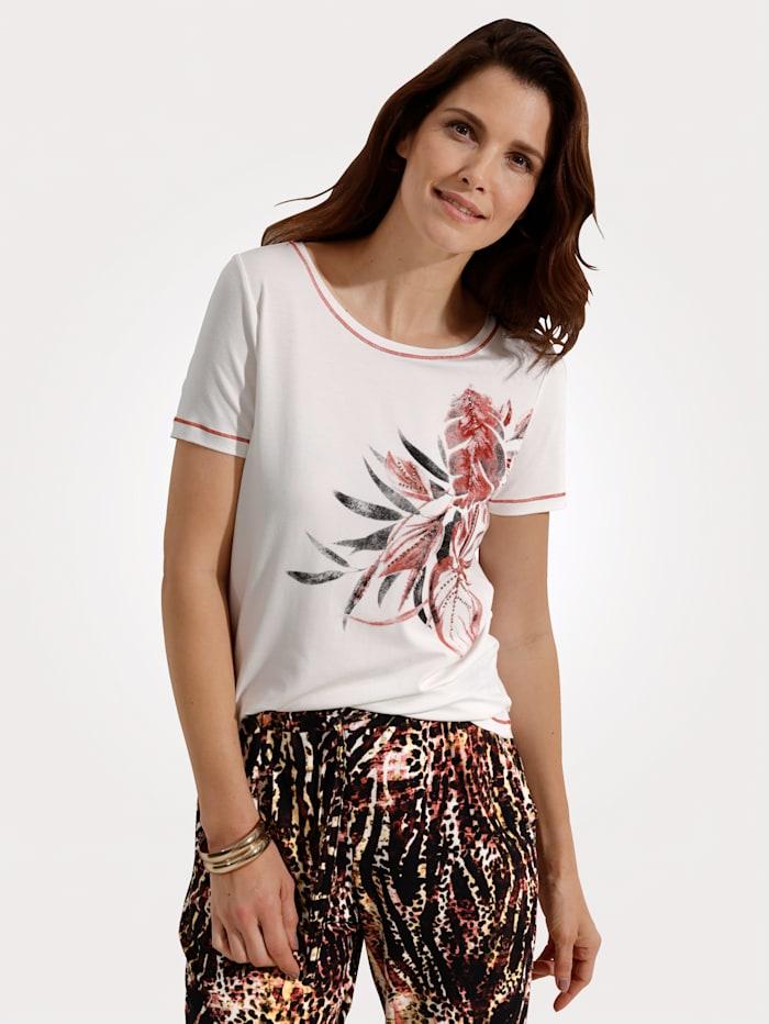 MONA Shirt mit floralem Druckmotiv, Ecru/Ziegelrot/Schwarz