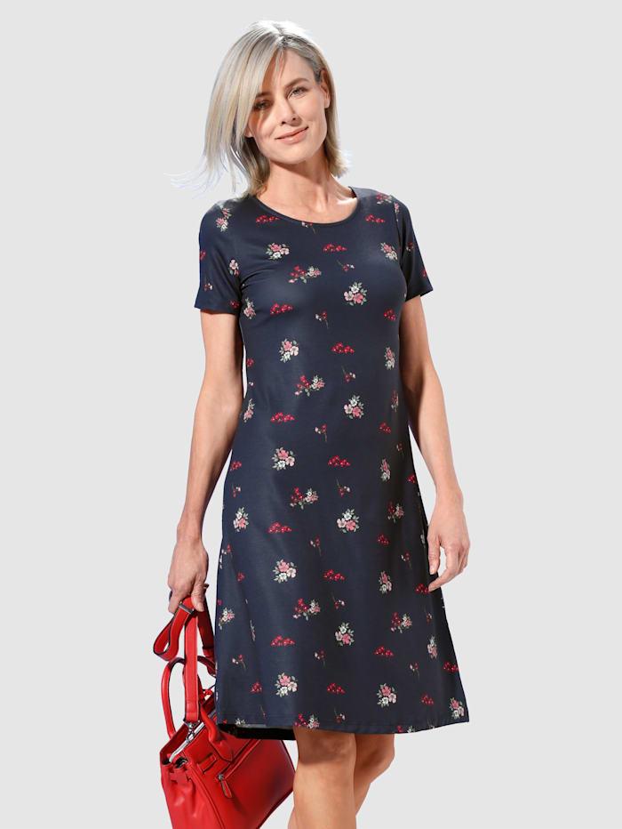 Paola Džersej šaty s módnou kvetinovou potlačou, Námornícka
