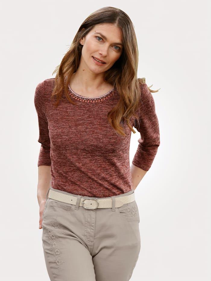 MONA Shirt in Feinstrick-Optik, Terracotta