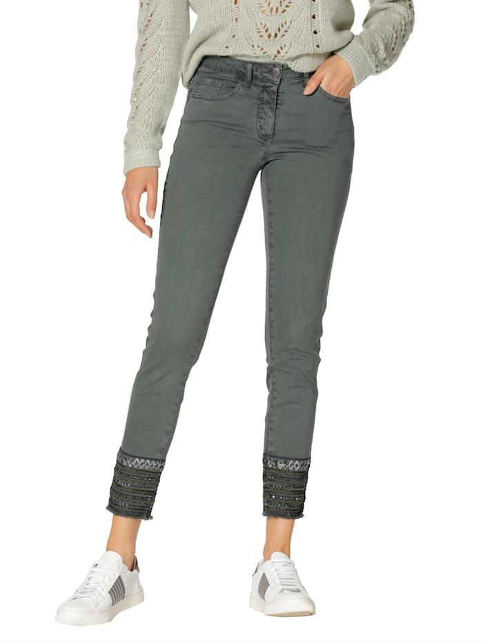 AMY VERMONT Jeans mit Pailletten-Verzierung am Saum, Grün