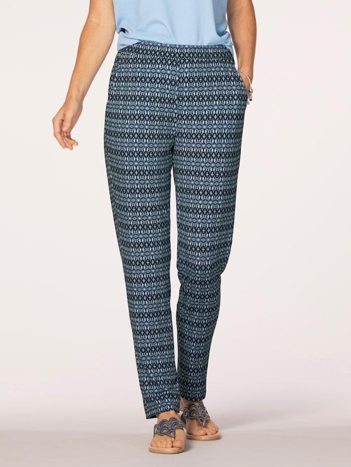 MONA Pantalon à motif graphique, Marine/Blanc