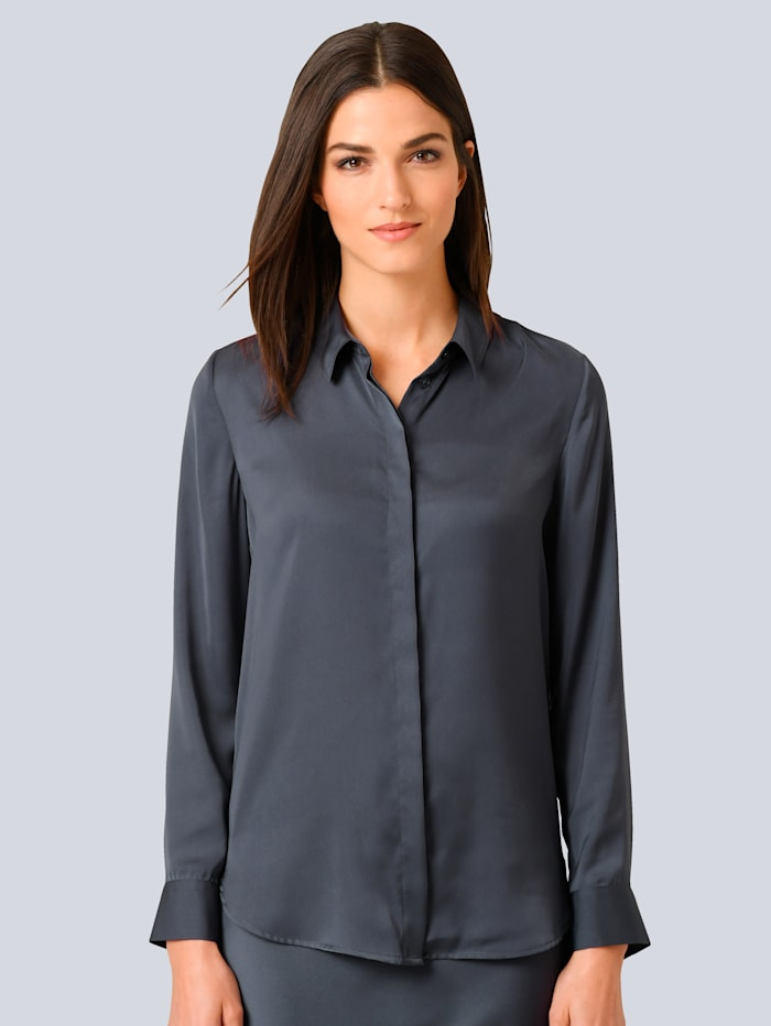 Alba Moda Bluse aus leicht glänzender Ware, Blau