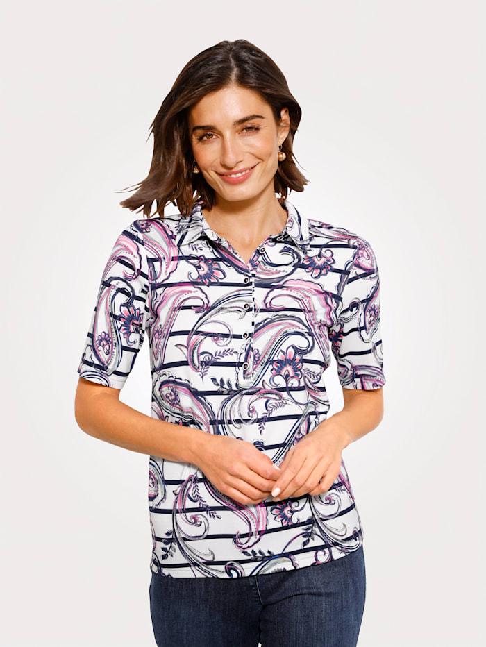 ERFO Poloshirt met dessinmix, Wit/Marine/Pink