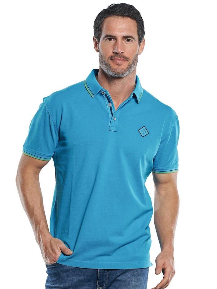 Engbers Poloshirt mit dezenten Farbkontrasten, Wasserblau