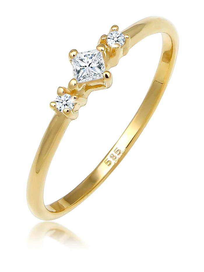 DIAMORE Ring Prinzessschliff Diamant (0.13 Ct) 585 Gelbgold, Gold