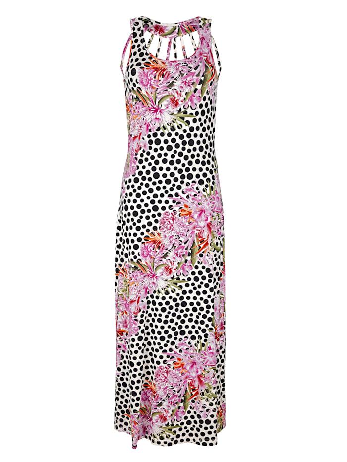 Alba Moda Jurk met bloemendessin en stippen, multicolor
