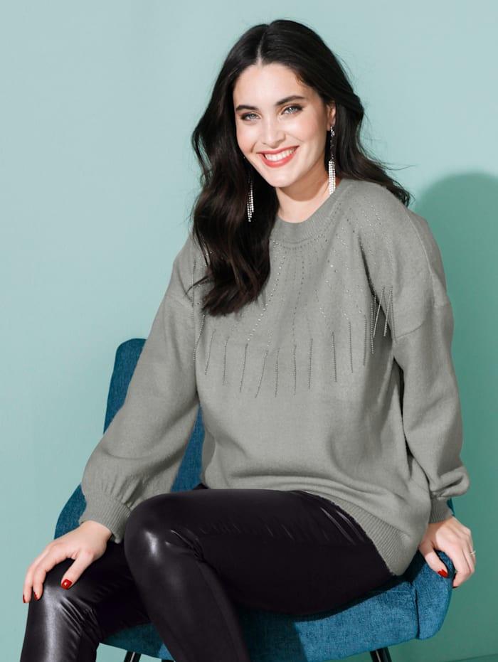 MIAMODA Pullover mit Steinchen- und Perlendekoration, Grau