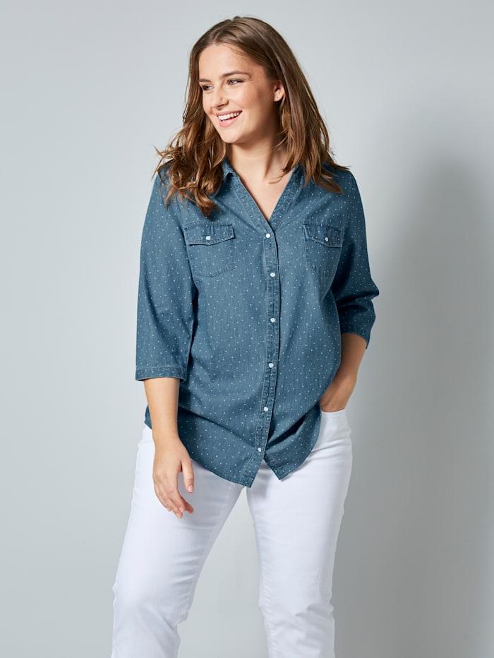 Jeansblouse met stippendessin
