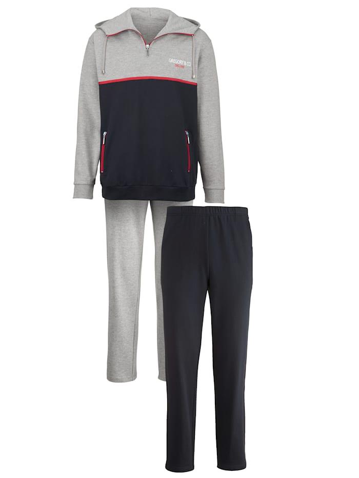 G Gregory Joggingpak met borduursel Set, grijs gemêleer/marine/rood