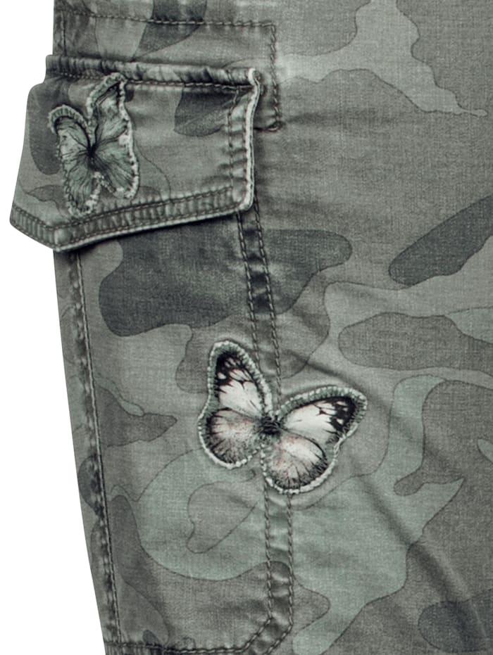 CAMBIO Hose mit Schmetterlingen am Bein, Oliv