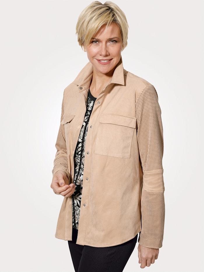 MONA Hemdjacke aus hochwertigem Velours- Lederimitat, Beige